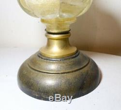 HUGE antique Italian Murano hand blown gold flake art glass electric table lamp