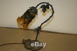 Handmade Galle Style Table Lamp Bronze And Acid Etched Blown Glass Shade #2