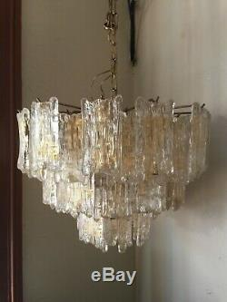 Italian murano glass chandelier 3 tiers barovier and toso style mcm blown glass