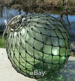 JAPANESE Blown GLASS Fishing Float XL 12D Pale Green withPATCH + Seal Net 20D