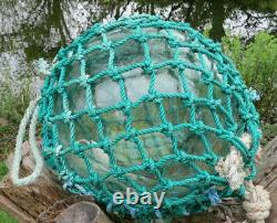 JAPANESE Blown GLASS Fishing Float XL 12D Sea Green Intact Seal Netted 20AG