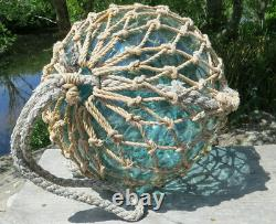 JAPANESE Blown GLASS Fishing Float XL 14D Aqua Seal Button Netted ANTIQUE 21W