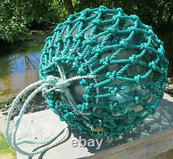JAPANESE Blown GLASS Fishing Float XL 14D Sea Green +Patch Netted 21AC