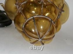 LG Antique Hanging Light Fixture AMBER Hand Blown Glass Murano Seguso Wire Caged