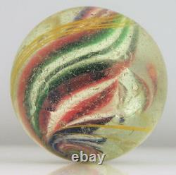 Large 1.75 Antique German Hand Blown Glass Marble Shooter Red Green Swirls