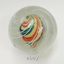 Large 2 Antique German Hand Blown Glass Marble Shooter Color Swirls