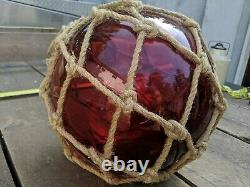 Large 37 Vintage Japanese Red Blown Glass Fish Float