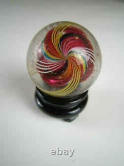 Large Almost 2 Antique German Hand Blown Glass Marble Shooter Rainbow Swirls