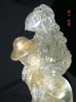 Large Antique Murano Venetian Glass c/ Gold Sculpture of Man Carrying a Sheep