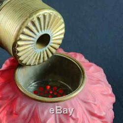 Large Gone with the Wind Blown Out Ruby Satin Glass Oil Lamp, circa 1890