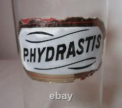 Large antique 1800's reverse painted blown glass apothecary medical bottle jar