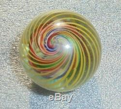 Large antique blown glass colored swirl toy marble 1 1/2