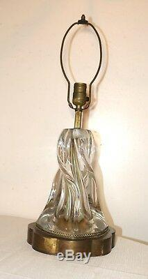 Large antique hand blown thick clear art glass brass electric table lamp Murano