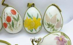 Lot 7 Vtg Antique Hand Blown Hand Painted Milk Glass Easter Eggs Ornaments