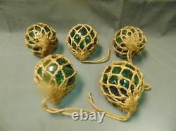 Lot of 5 VINTAGE 5 HAND BLOWN GREEN GLASS FISHING FLOATS BUOY IN NET Iceland
