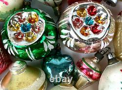 Lot of Antique German Mercury Glass Hand Blown Painted Christmas Ornaments