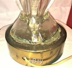 Mid Century MURANO Barovier Toso PINK TO CLEAR Ribbed ART GLASS ITALY LAMP Works