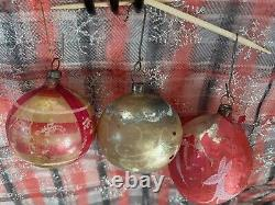 Mixed Lot 14 Vintage Mercury Glass Blown Christmas Ornaments Figural & Indents