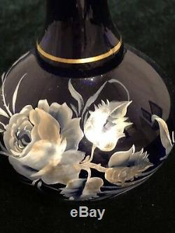 Moser Art Crystal Blown Cobalt decante Battle Silver Floral hand paint with Lid