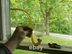 ORIGINAL 1800s FREE BLOWN GLASS PIPE GLASSHOUSE WHIMSEY AMBER & CLEAR RARE