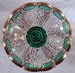 Pair Antique Bohemian Emerald Art Glass Mantle Lusters withLarge Prisms