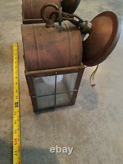 Pair Antique style copper finish hanging lantern Lamps with blown glass shades