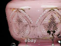 Pair Of Antique Victorian Bohemian Hand Painted Overlay Glass Mantel, Luster