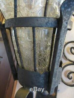 Pair of Antique/Vtg Wrought Iron Hand Blown Glass Sconces Outdoor Lights Lamps