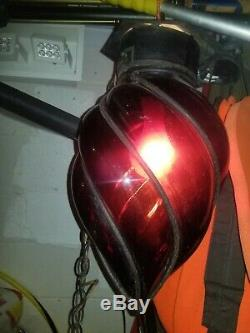 RARE Antique Wrought Iron Hand Blown Glass Lamp Light Shade Ruby Glass Red