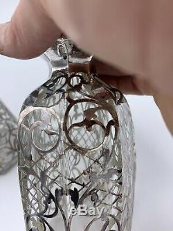 Rare PAIR Sterling Silver Overlay Perfume Scent Bottle Art Nouveau Hand Blown
