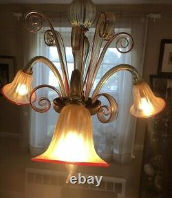 Rare Red and Gold Flex Murano Venetian hand blown glass chandelier 1980 3 arm