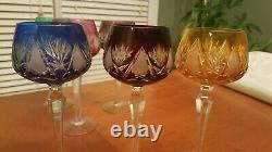 Rare Vintage, Hand Cut Crystal Bohemian/Czech Mouth Blown Wine Glasses, set of 6