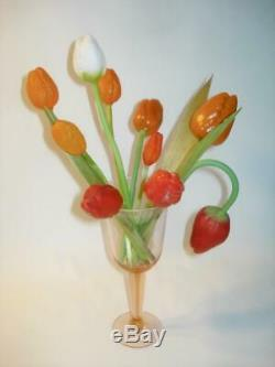 SET 10 ANTIQUE BLOWN GLASS TULIPS GERMANY 1920s