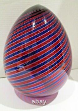 Signed Venini Murano Glass Swirled Red and Blue Glass Egg Sculpture 1997