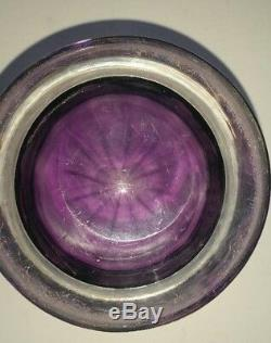 Stevens and Williams Hand Blown Amethyst Crystal Vase Cut to Clear With Grapes