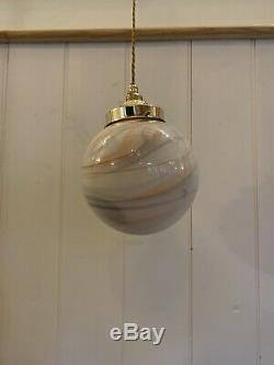 Stunning 1960s Italian Hand Blown Vintage Marbled Glass Pendant Lamp, Rewired