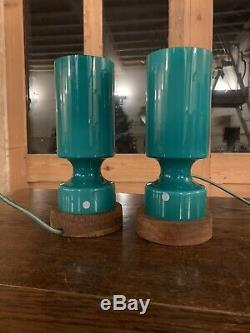 Swedish ELME Table Lamps, 1960's Retro Scandanavian Lighting, Hand Blown Glass