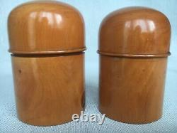 Three Antique Treen Apothecary Cases & Blown Glass Jar Liners Light Burr Wood