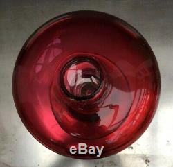 Unusual Hand Blown Antique Victorian Cranberry & Clear Glass Oil Lamp