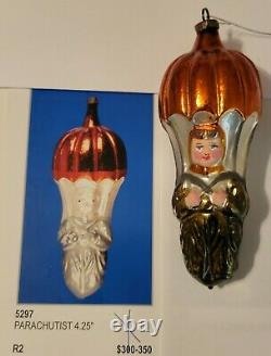 VERY RARE AUTHENTIC 1900's German Blown Glass Figural Parachutist Ornament OLD