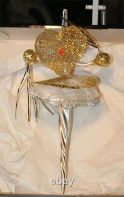 Vintage 8 gold balls Christmas ornament blown glass feather lady rare Italy