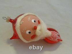 Vintage Andes Christmas Santa Mouth Blown Glass Ornaments-Set of 4