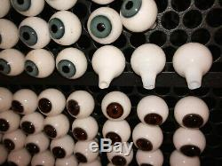 Vintage Blown Glass Doll Eyes 20mm Lot of 44