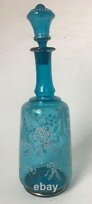 Vintage Blue Glass Decanter Bottle with Stopper Hand Blown Painted