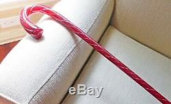Vintage Bright Red Hand-Blown Glass Walking Cane 36 Inches
