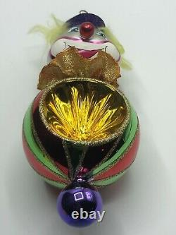 Vintage Christopher Radko Blown Glass Ornament 1999 GIGGLES THE CLOWN Reflector