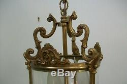 Vintage French Bronze Light cylinder ceiling lantern with hand blown glass 12