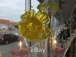 Vintage Hand Blown Murano Glass Chandelier Flowers Leaves