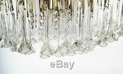 Vintage Hollywood Regency MURANO Italy Hand-blown Glass Flowers Chandelier Light