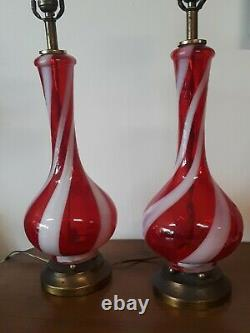 Vintage Italian Mid Century Modern Hand-blown Red Glass Swirl Table Lamps PAIR